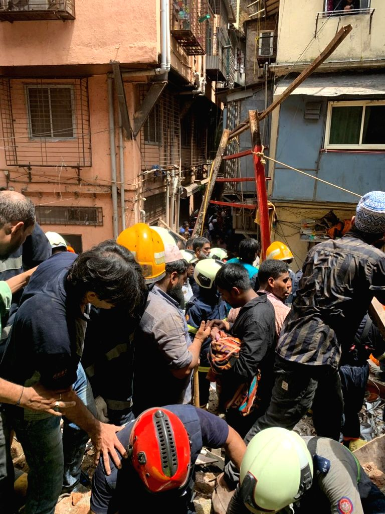 Rescue Operations underway at the site where a four-storey Kesarbai Building collapsed around 11.30 a.m in south Mumbai's Dongri area on July 16, 2019. Two people were killed and five others ...