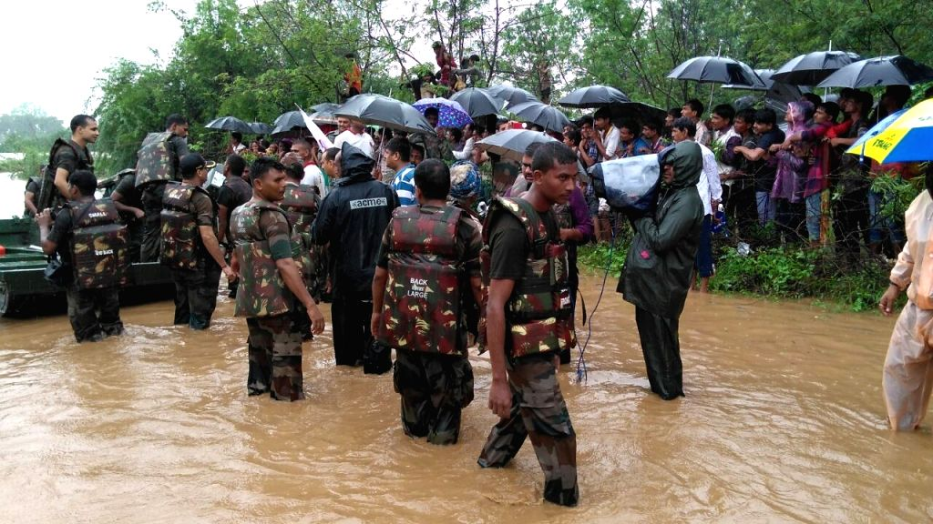 Rescue operations underway during floods in Gujarat on July 25, 2017.