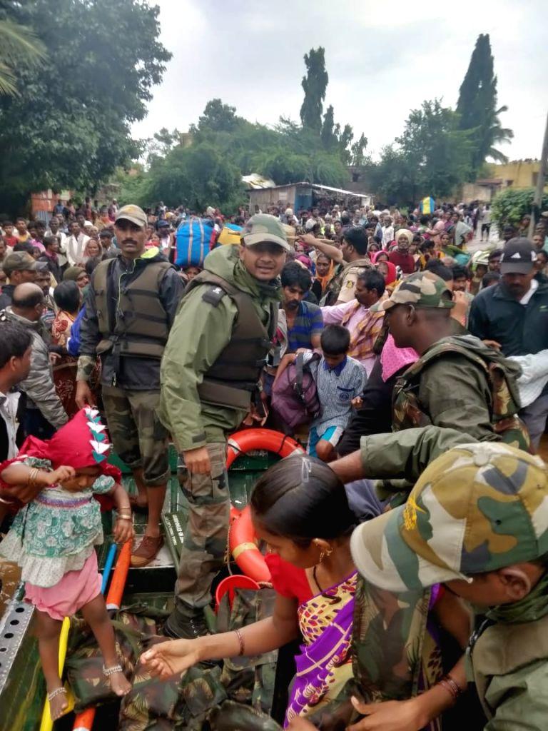 Rescue operations underway in flood hit areas of Karnataka on Aug 9, 2019.