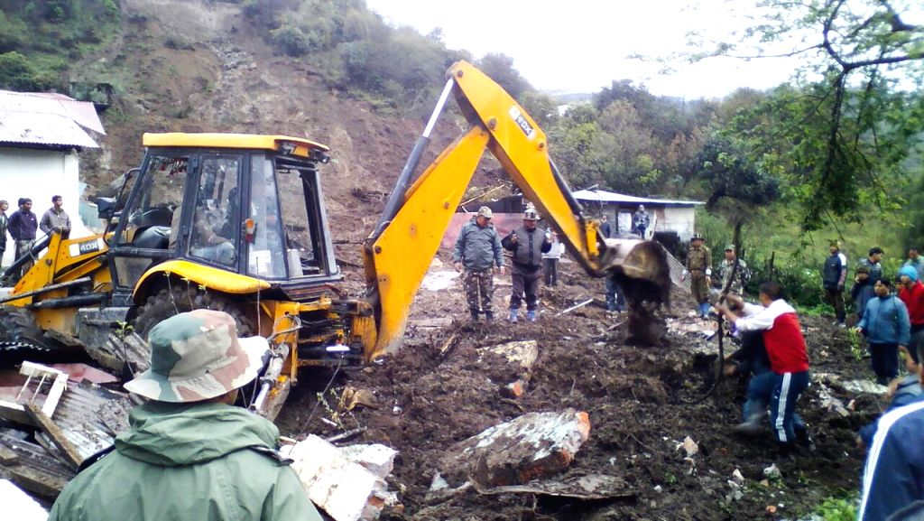 Rescue operations underway in Tawang of Arunachal Pradesh where at least 16 people were killed and many buried under debris in a landslide on April 22, 2016.