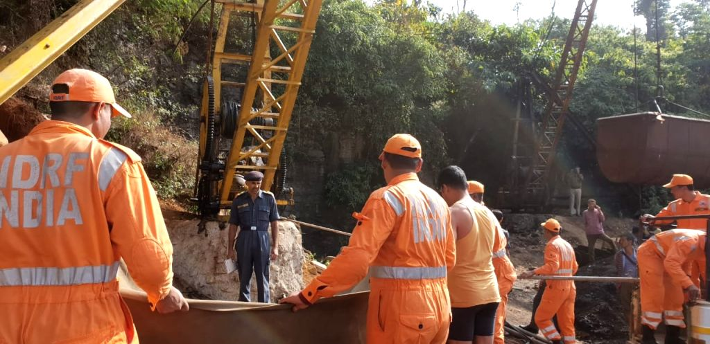 Rescue personnel works on as thirteen miners were trapped inside a coal pit filled with gallons of water in Meghalayas East Jaintia Hills district on Dec. 14, 2018.
