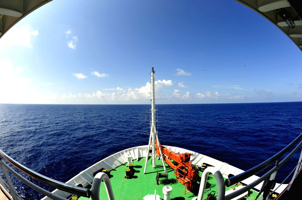 Research vessel Zhang Qian arrives at target waters in South China Sea, July 17, 2016. The vessel, named after ancient Chinese diplomat Zhang Qian (164 ...