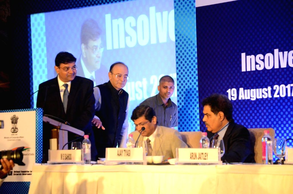 Reserve bank of India Governor Urjit Parel, Finance Minister Arun Jaitley, Insolvency and Bankruptcy Board of India chairman M. S. Sahoo and Securities and Exchange Board of India (Sebi) ... - Arun Jaitley