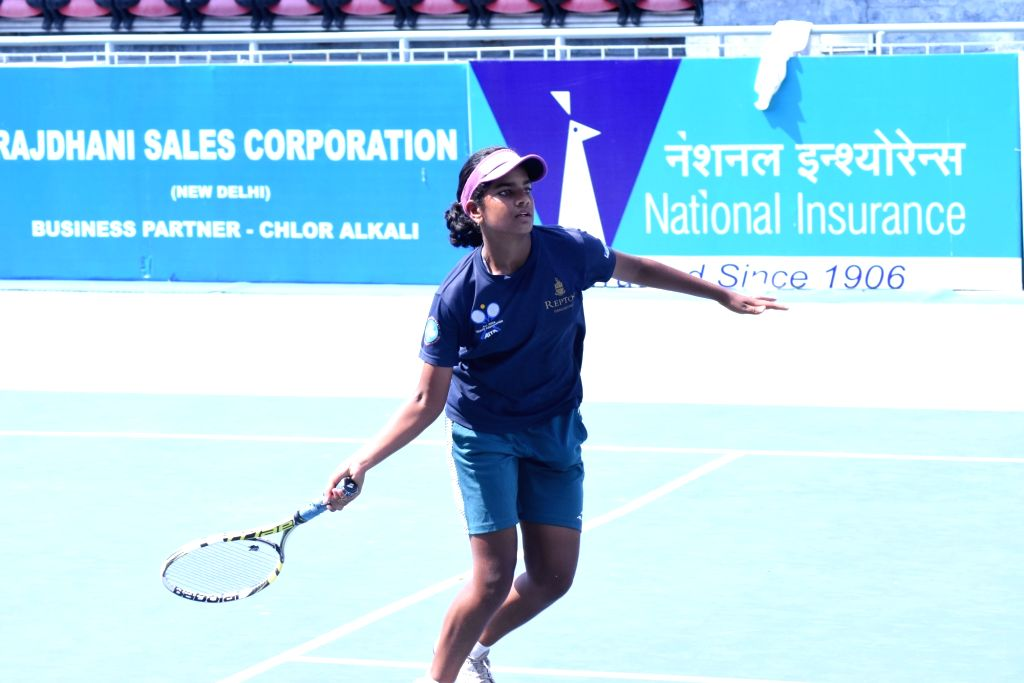 Reshma Maruri in action against Veda R Prapurna in Girls U-16 category of the Fenesta Open Junior National Tennis Championship, in New Delhi on Oct 9, 2019.