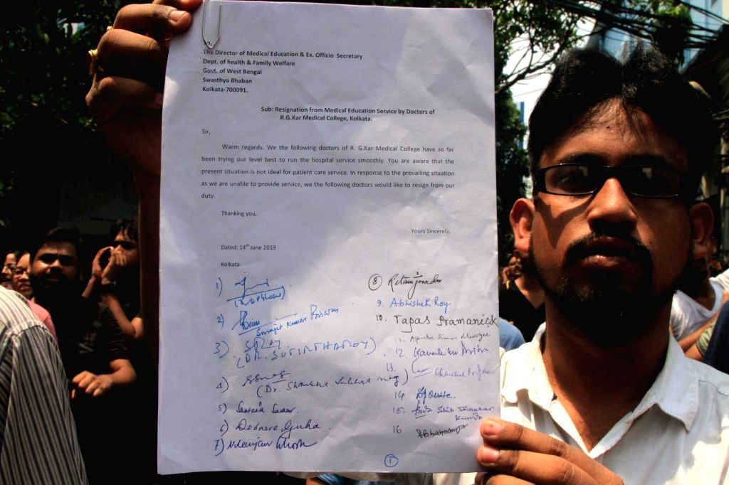 Resignation letters of 16 doctors of RG Kar Medical College and Hospital tendered resignation in Kolkata on Jun 14, 2019.