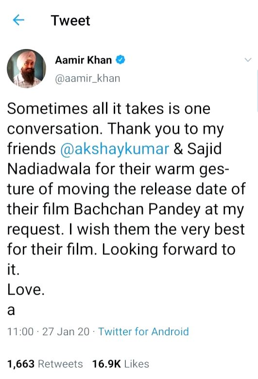 "Responding to Aamir's post, Akshay wrote: ""Anytime Aamir, we???re all friends here."" Not only this, Akshay, while announcing the new release date of ""Bachchan Pandey"", shared his ... - Bachchan Pandey"