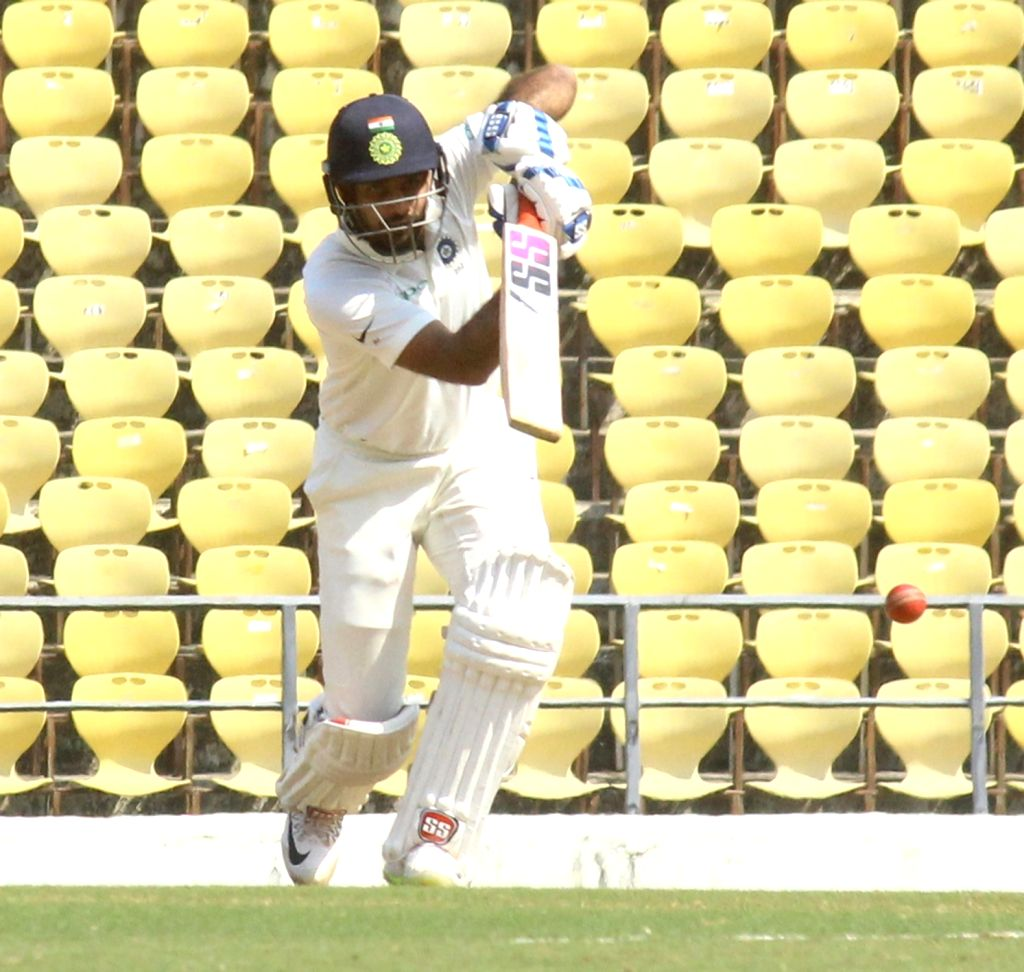 Rest of India (RoI) batsman Mayank Agarwal in action on the First Day of Irani Cup match between Rest of India and Vidarbha at Vidarbha Cricket Association Stadium, in Jamtha, Nagpur on Feb ... - Mayank Agarwal