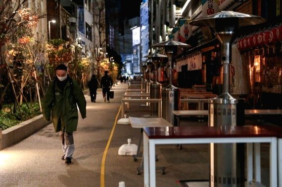 Restaurants are closed due to the state of emergency at Shibuya in Tokyo, Japan, Jan. 9, 2021. (Xinhua/Du Xiaoyi) by Ting Shen/Xinhua/ians)
