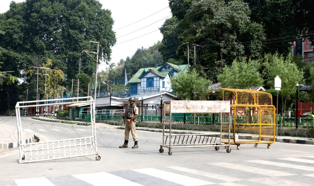 Restrictions imposed in Srinagar. (Photo: IANS)