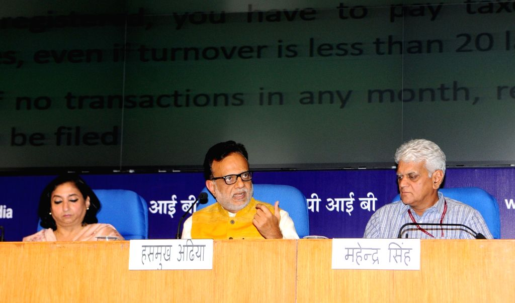 Revenue Secretary Dr. Hasmukh Adhia alongwith a team of officers of the Department of Revenue and Central Board of Excise & Customs (CBEC) at the Master Class on GST in New Delhi on ...