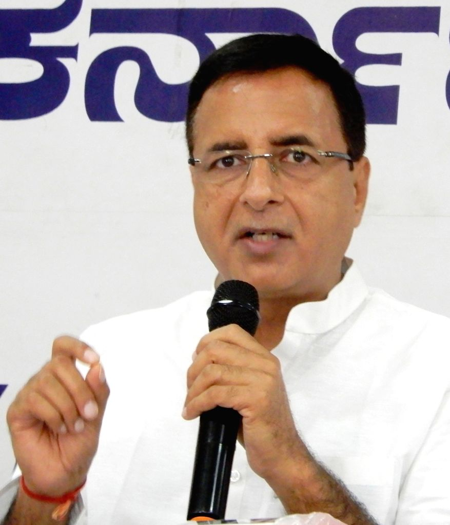 Rewari: Congress spokesperson and General Secretary Randeep Singh Surjewala addresses a press conference at the state party headquarters, in Bengaluru on Sep 23, 2020. (Photo IANS)