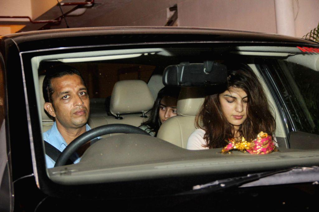 Rhea Chakraborty and Sara Ali Khan spotted at Kareena and Saif`s residence in Mumbai, on June 5, 2017. - Chakraborty and Sara Ali Khan