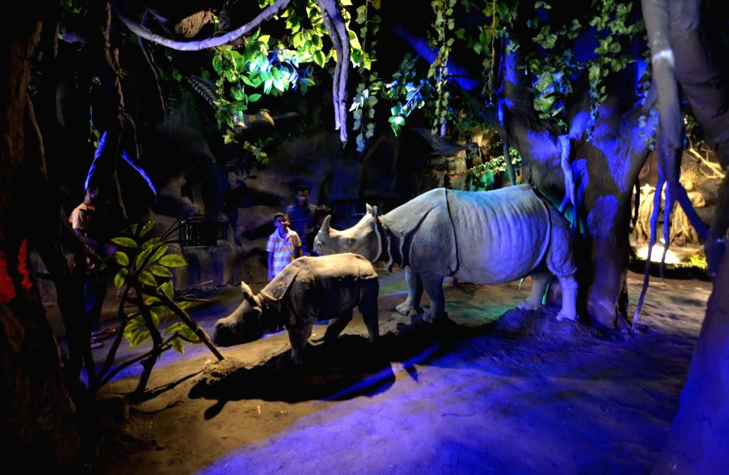 Rhino statues installed at a Durga Puja pandal in Guwahati, on Oct 7, 2016.