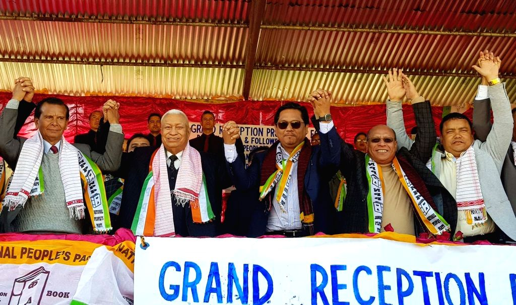 Ri-Bhoi: National People's Party (NPP) President and Meghalaya Chief Minister Conrad Sangma with Former Meghalaya Chief Minister D. D. Lapang, during a programme where the latter joined NPP, in ... - Conrad Sangma