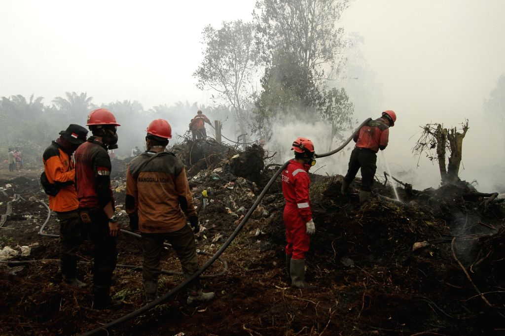 RIAU, Sept. 22, 2019 - Firefighters try to extinguish a forest fire in Kampar, Riau province, Indonesia, Sept. 22, 2019.