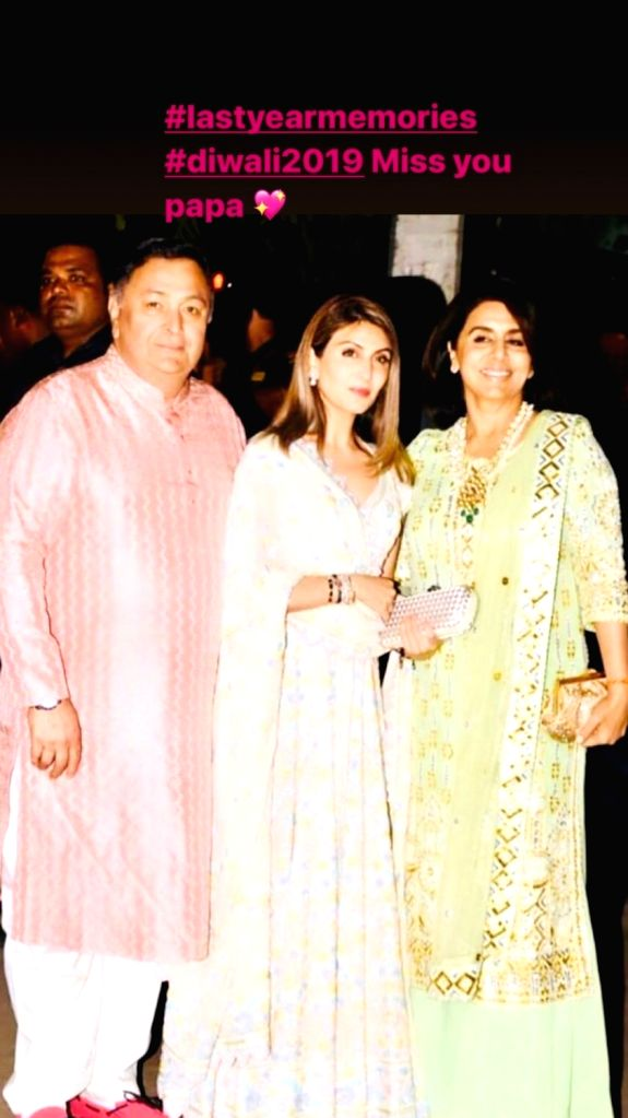 Riddhima misses papa Rishi Kapoor during Diwali, shares throwback pic. - Rishi Kapoor