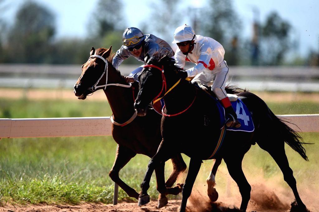 Rider Dong Chunhong (R) and his horse Qiqi from north China's Inner Mongolia Autonomous Region compete in the 8,000 meters horse racing event of the 10th National ...