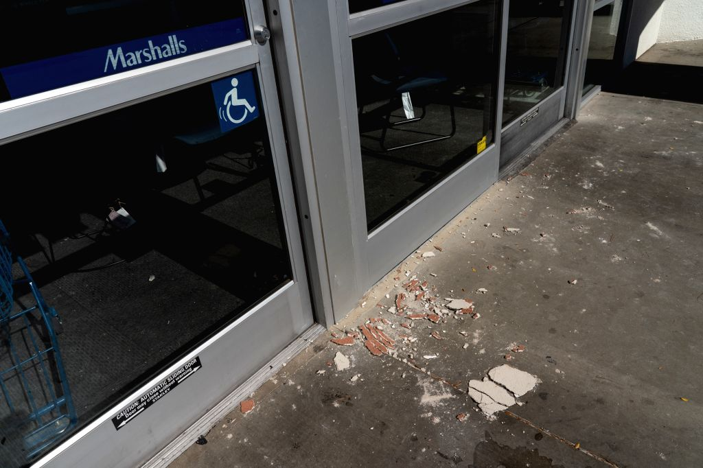 RIDGECREST, July 5, 2019 (Xinhua) -- A shop is littered with broken walls after the quake in Ridgecrest, California, the United States, July 4, 2019. A 6.4-magnitude earthquake jolted a remote area in the Searles Valley in the U.S. western state of C