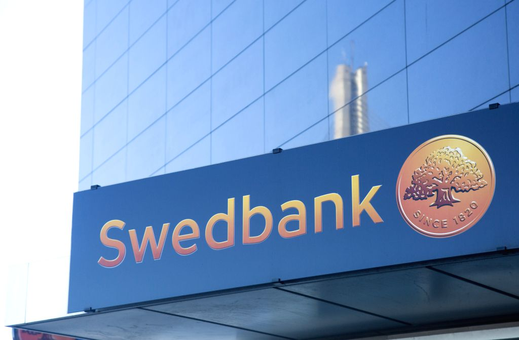 RIGA, Feb. 22, 2019 - A building of Swedbank's Latvian branch is seen in Riga, Latvia, Feb. 22, 2019. Earlier this week, the Swedbank group had been shaken by money laundering scandal following the ...