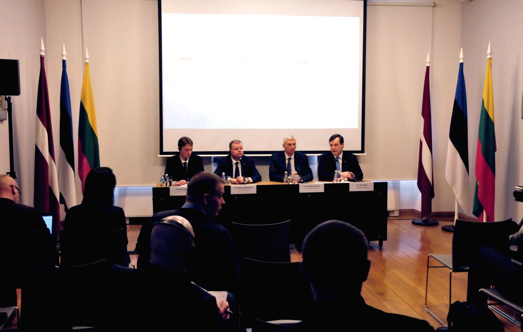 RIGA, Feb. 5, 2019 - Lithuanian Prime Minister Saulius Skvernelis (2nd L), Latvian Prime Minister Krisjanis Karins (2nd R) and Estonian Ambassador to Latvia Arti Hilpus (1st R) attend a press ... - Saulius Skvernelis