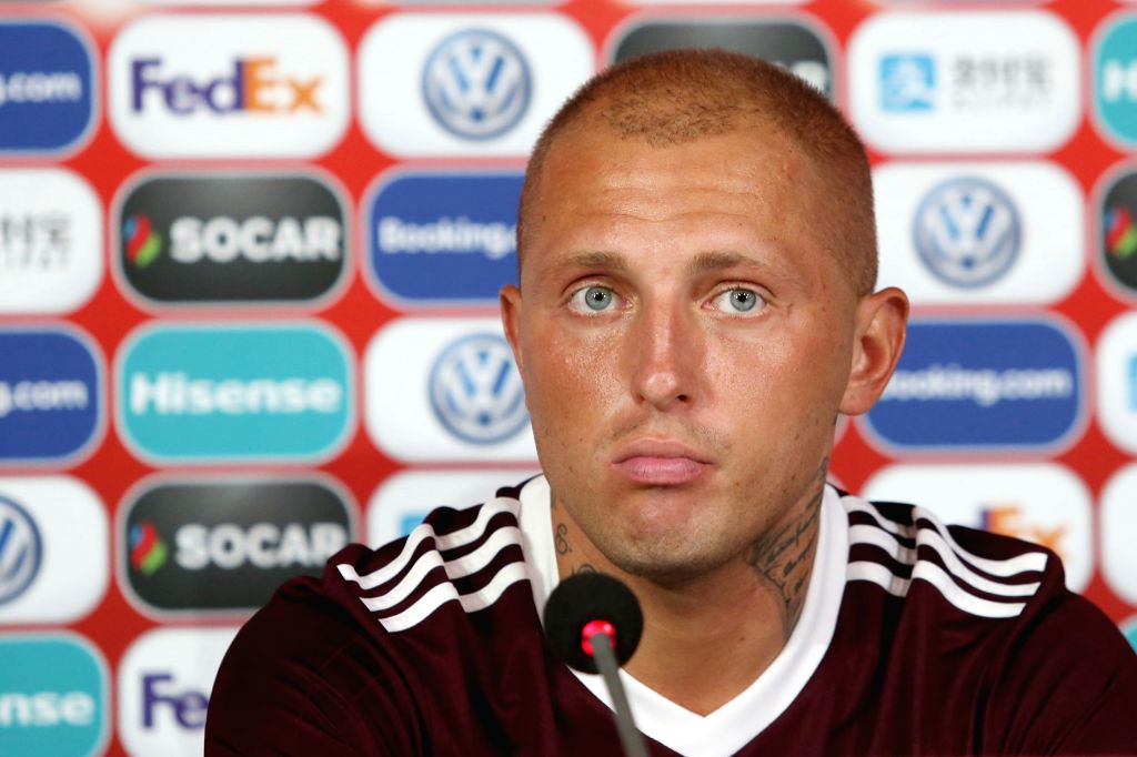 RIGA, June 7, 2019 - Latvian national football team player Deniss Rakel reacts during a press conference before the upcoming UEFA EURO 2020 qualifying match between Latvia and Israel in Riga, Latvia, ...
