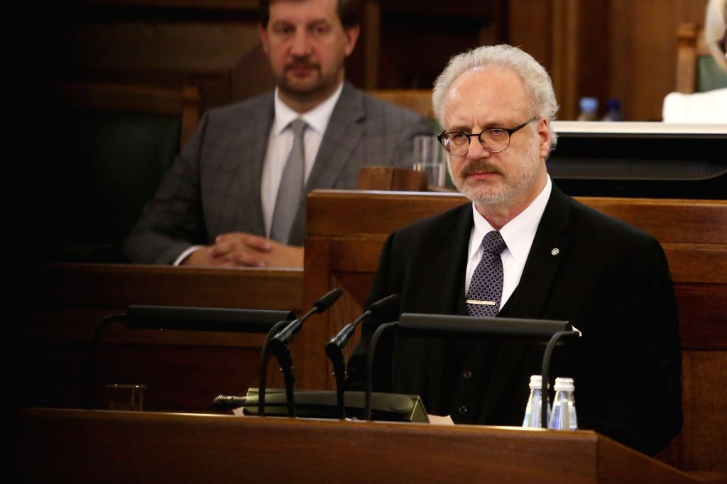 RIGA, May 29, 2019 - Latvian newly-elected President Egils Levits speaks at the Parliament of Latvia in Riga, Latvia, May 29, 2019. Latvian lawmakers on Wednesday elected European Court of Justice ...