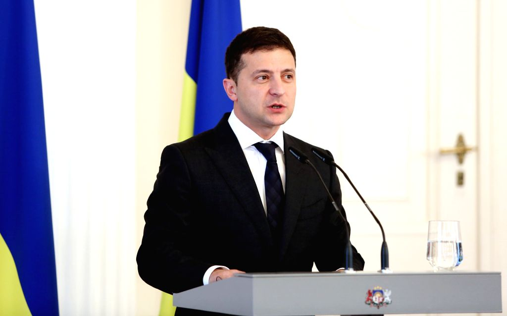 RIGA, Oct. 16, 2019 - Ukrainian President Volodymyr Zelensky speaks during a press conference in Riga, Latvia, Oct. 16, 2019.