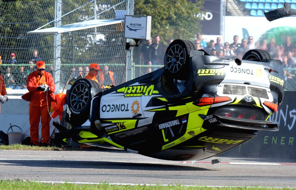RIGA, Sept. 15, 2019 - Timur Timerzyanov of Russia crushes during the qualifying race of the Neste World RX of Latvia, in Riga, Latvia, Sep. 14, 2019.