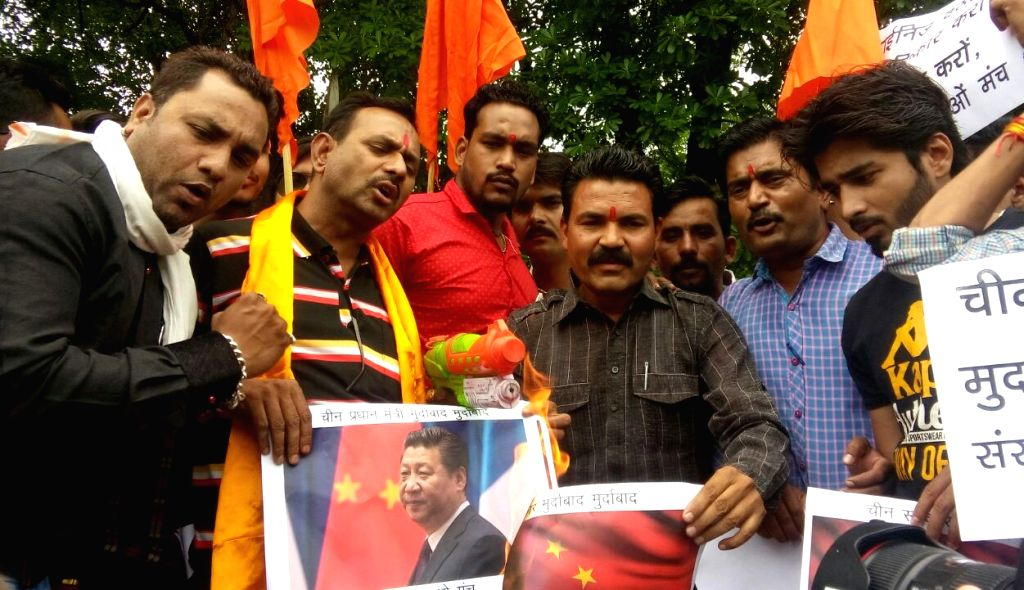 Right wing activists stage a demonstration against China   after it opposed India's entry into Nuclear Suppliers Group (NSG), in Bhopal, on June 25, 2016.