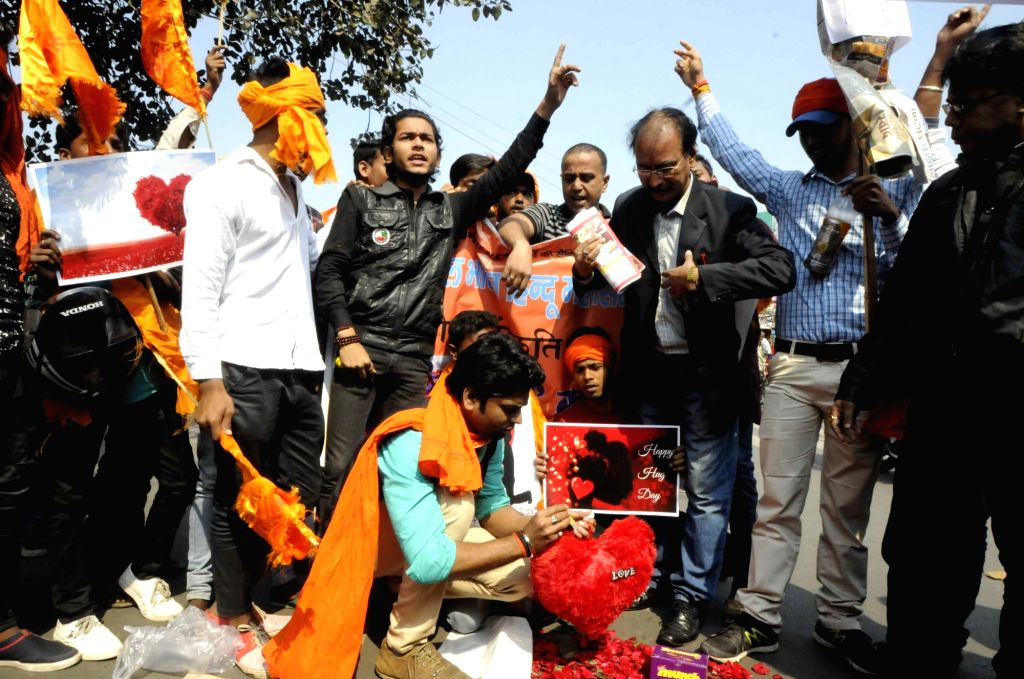 Right wing activists stage a demonstration against Valentine's Day celebrations in Patna, on Feb 14, 2018.