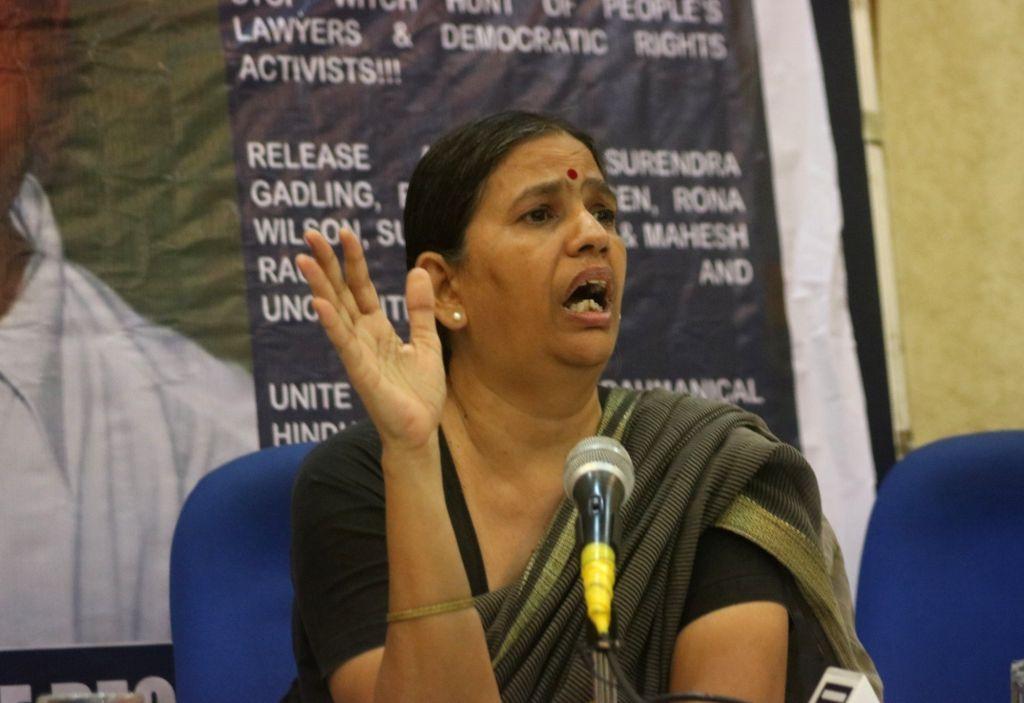 Rights activist and Chhattisgarh High Court advocate Sudha Bharadwaj addresses a press conference, in New Delhi on June 7, 2018.