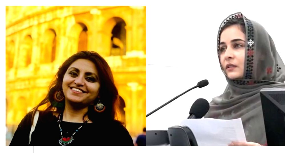 Rights activist Gulalai Ismail (left) fled Pakistan in 2019 after threats while Activist Karima Baloch (right) highlights State-sponsored kidnappings of the Baloch people (Photographs: ...