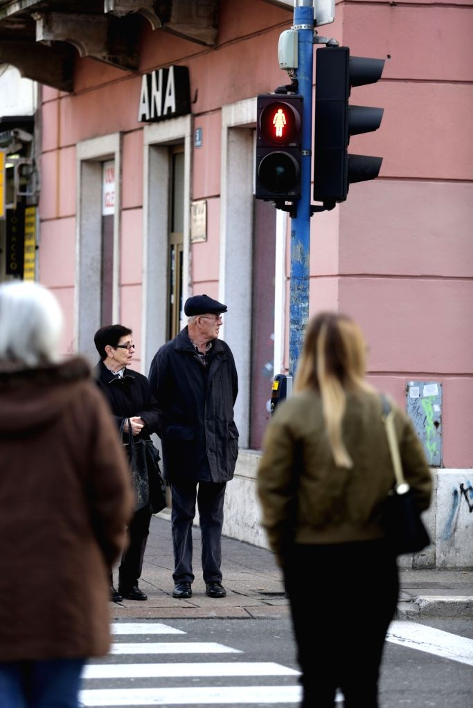 "RIJEKA (CROATIA), Feb. 21, 2019 Photo taken on Feb. 21, 2019 shows a ""women's traffic light"" in Rijeka, Croatia. The coastal city became the first city in Croatia to use ..."