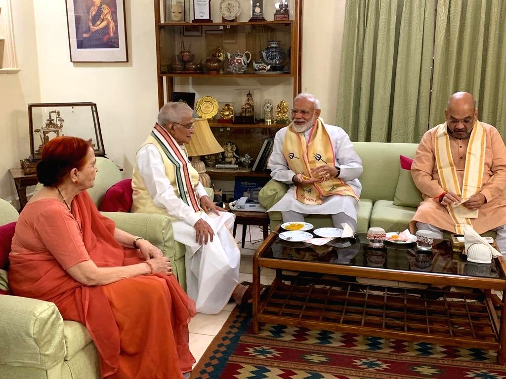 rime Minister Narendra Modi and BJP chief Amit Shah meet senior party leader Murli Manohar Joshi, in New Delhi on May 24, 2019. The BJP on Thursday recorded a stunning and historic ... - Narendra Modi, Amit Shah and Murli Manohar Joshi