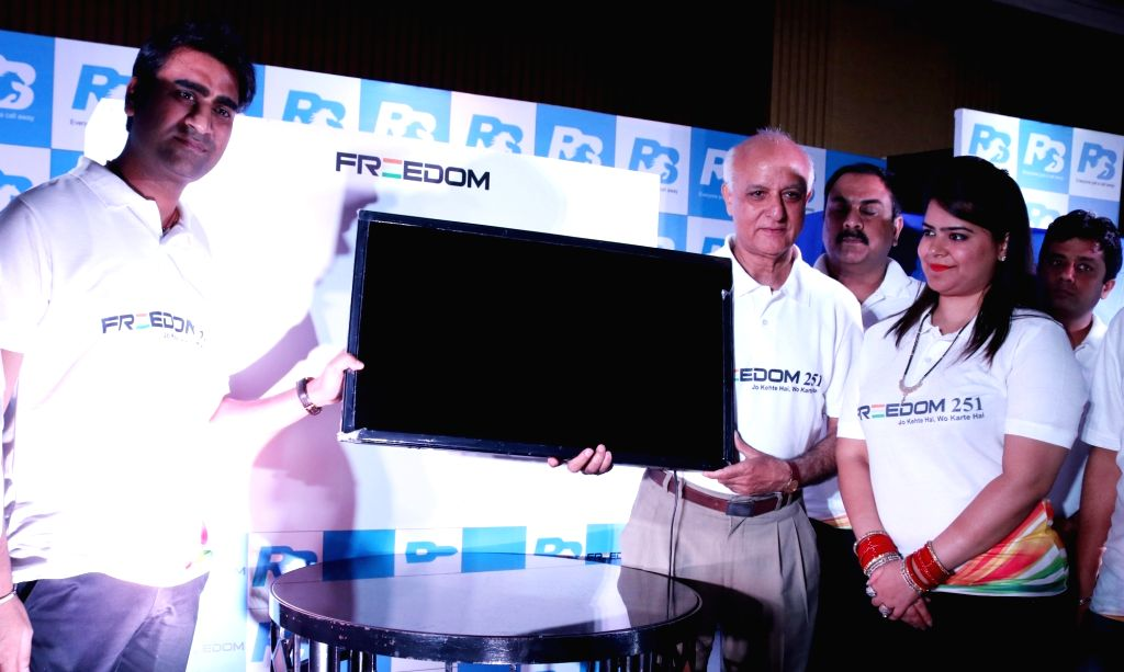 Ringing Bells Private Limited founder and CEO Mohit Goel at the launch of a smartphone and LED TV, in New Delhi on July 7, 2016.