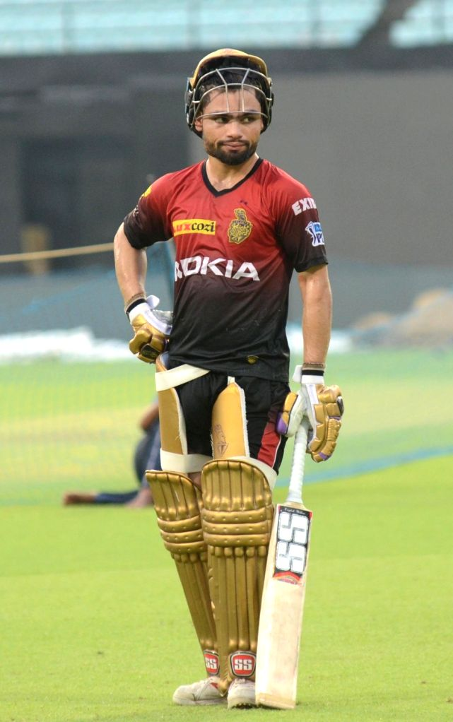 Rinku Singh of Kolkata Knight Riders during a practice session, in Kolkata on May 21, 2018. - Rinku Singh