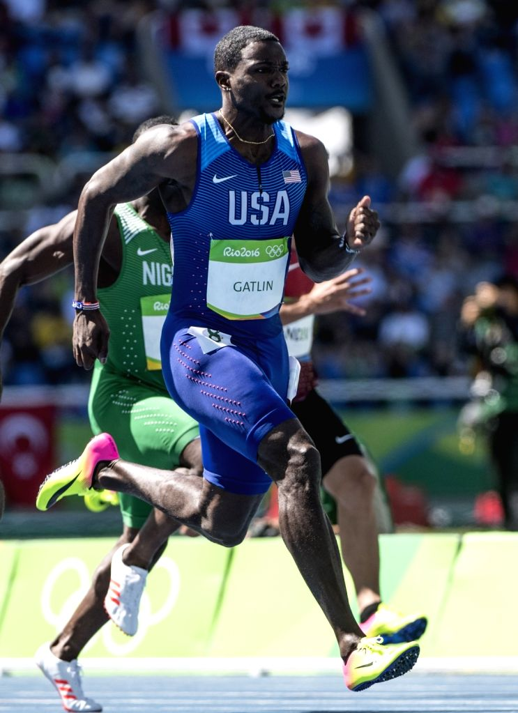 Rio de Janeiro: American speedster Justin Gatlin in action during Mens 100m heats at the Rio 2016 Olympics in Rio de Janeiro on Aug 13, 2016.