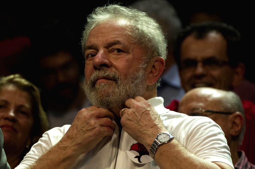 RIO DE JANEIRO, April 12, 2016 - Former Brazil's President Luiz Inacio Lula da Silva, reacts during an act agaisnt the approval of impeachment of the Brazilian President Dilma Rousseff in Rio de ...