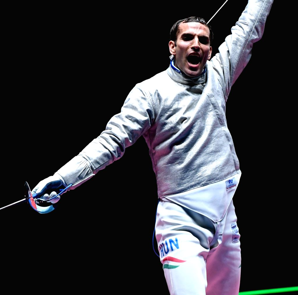 RIO DE JANEIRO, Aug. 10, 2016 - Aron Szilagyi of Hungary reacts during the men's sabre individual final of fencing against Daryl Homer of the United States of America at the 2016 Rio Olympic Games in ...