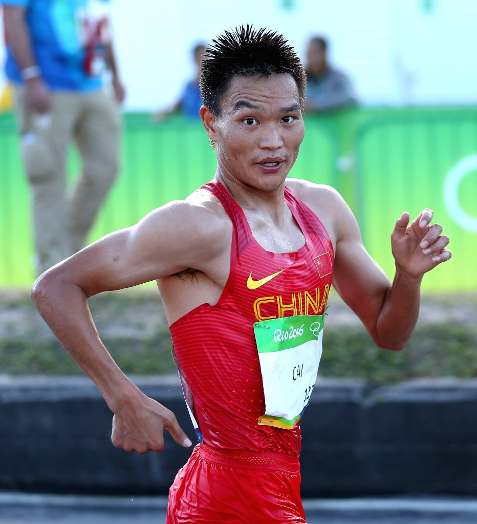 RIO DE JANEIRO, Aug. 12, 2016 - Cai Zelin of China competes during the men's 20km race walk at the 2016 Rio Olympic Games in Rio de Janeiro, Brazil, on Aug. 12, 2016. Cai Zelin won the silver medal.