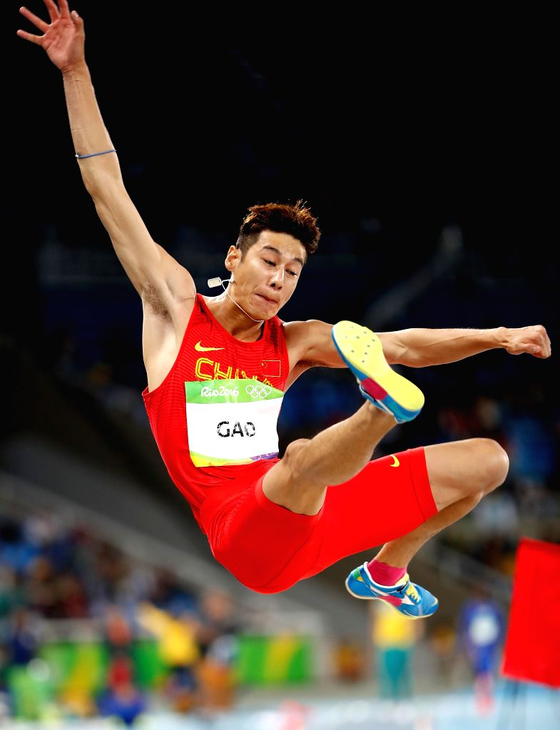 RIO DE JANEIRO, Aug. 12, 2016 - China's Gao Xinglong competes during the men's long jump qualification at the 2016 Rio Olympic Games in Rio de Janeiro, Brazil, on Aug. 12, 2016.
