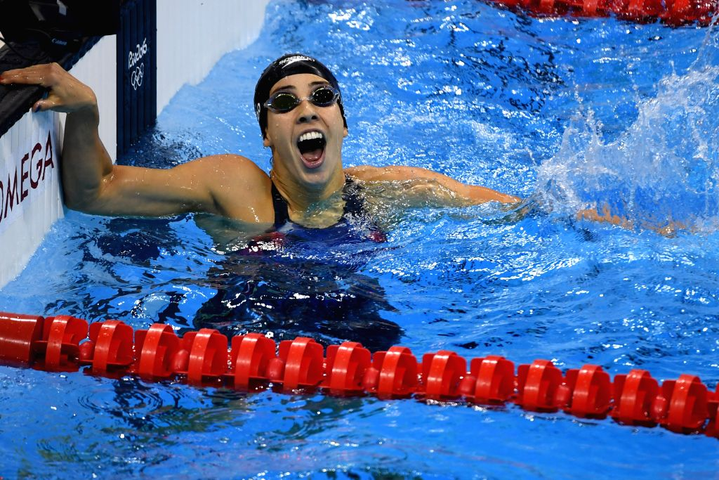 RIO DE JANEIRO, Aug. 12, 2016 - Maya Dirado of the United States celebrates after the women's 200m backstroke final at the 2016 Rio Olympic Games in Rio de Janeiro, Brazil, on Aug. 12, 2016. Maya ...