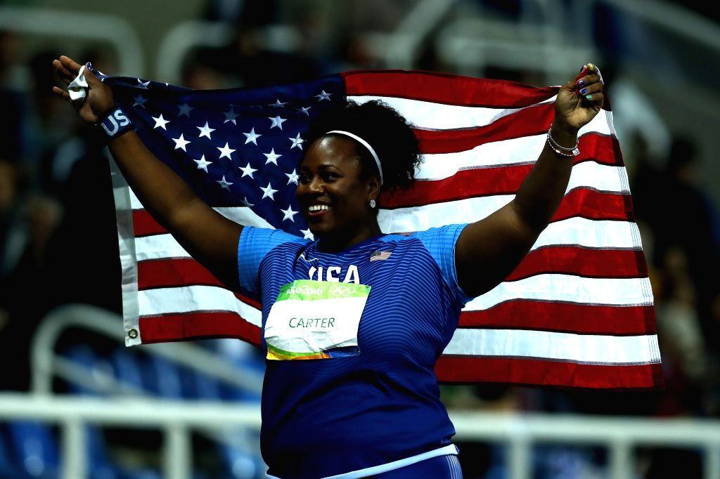 RIO DE JANEIRO, Aug. 12, 2016 - Michelle Carter of the United States celebrates after the final of women's shot put at the 2016 Rio Olympic Games in Rio de Janeiro, Brazil, on Aug. 12, 2016. Michelle ...