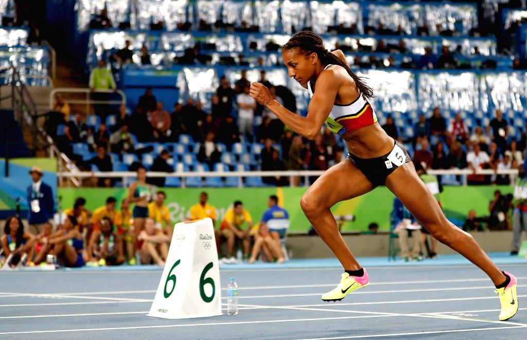 RIO DE JANEIRO, Aug. 13, 2016 - Belgian Nafissatou Thiam comeptes during Women's Heptathlon 800m heat of the Rio 2016 Olympic Games at Olympic Stadium in Rio de Janeiro, Brazil, on Aug. 13, 2016. ...