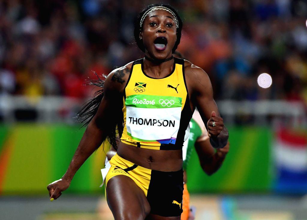 RIO DE JANEIRO, Aug. 13, 2016 - Elaine Thompson of Jamaica competes during the final of women's 100m at the 2016 Rio Olympic Games in Rio de Janeiro, Brazil, on Aug. 13, 2016. Elaine Thompson won the ...