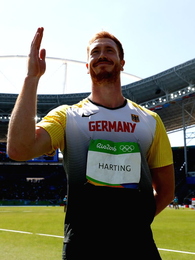 RIO DE JANEIRO, Aug. 13, 2016 - Germany's Christoph Harting reacts after the men's discus throw final of Athletics at the 2016 Rio Olympic Games in Rio de Janeiro, Brazil, on Aug. 13, 2016. Christoph ...