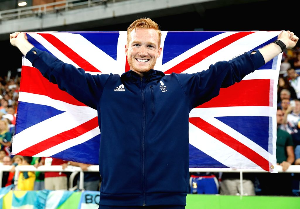 RIO DE JANEIRO, Aug. 13, 2016 - Greg Rutherford of Great Britain celebrates after the men's long jump final at the 2016 Rio Olympic Games in Rio de Janeiro, Brazil, on Aug. 13, 2016. Greg Rutherford ...