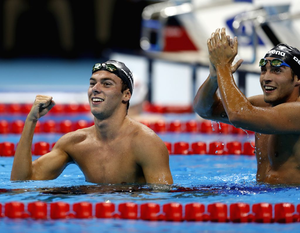 RIO DE JANEIRO, Aug. 13, 2016 - Gregorio Paltrinieri (L) and Gabriele Detti of Italy celebrate after the men's 1500m freestyle final at the 2016 Rio Olympic Games in Rio de Janeiro, Brazil, on Aug. ...