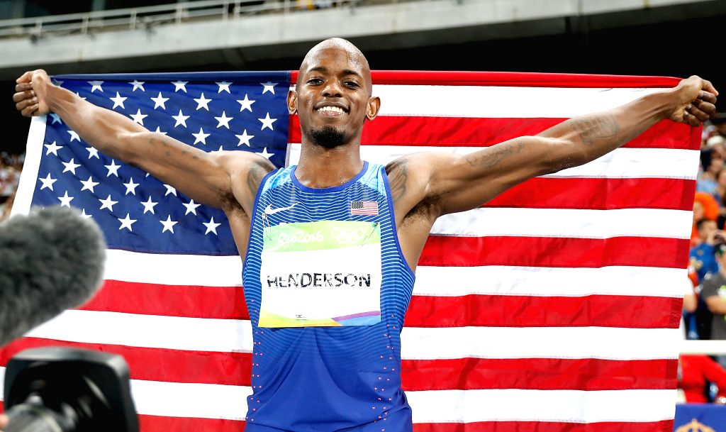 RIO DE JANEIRO, Aug. 13, 2016 - Jeff Henderson of the United States celebrates after the men's long jump final at the 2016 Rio Olympic Games in Rio de Janeiro, Brazil, on Aug. 13, 2016. Jeff ...