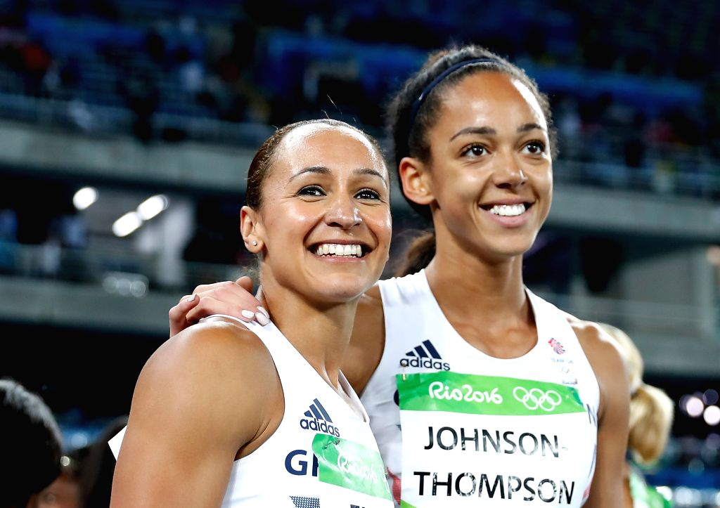 RIO DE JANEIRO, Aug. 13, 2016 - Jessica Ennis (L) of Great Britain celebrates after Women's Heptathlon 800m heat of the Rio 2016 Olympic Games at Olympic Stadium in Rio de Janeiro, Brazil, on Aug. ...